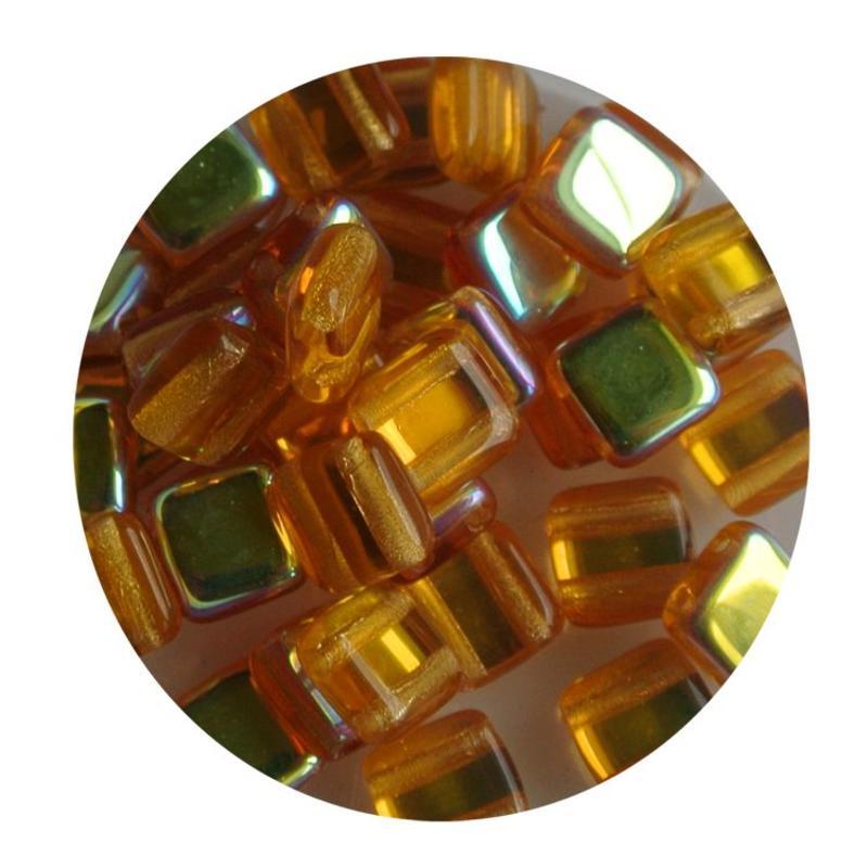 2 Hole Square Beads 6x6mm. Topaz AB