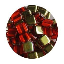 2 Hole Square Beads 6x6mm. Hyacinth Brass