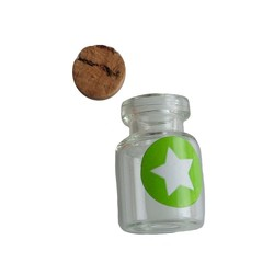 Mini glass bottle with cork,