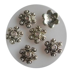 Bead Cap with 10mm balls. Silver-colored