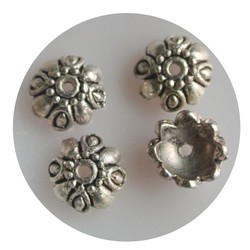 Bead Cap 10mm spherical shape. Silver-colored