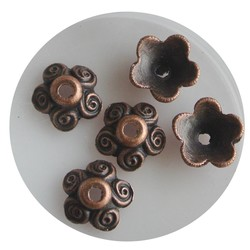 Bead Cap 10mm circles. Red Coppery