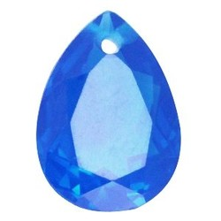 Facetgelepen teardrop-shaped pendant 18x25mm Dark Capri Blue