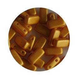 2 hole Prismabead 4x8mm Pastel Yellow Gold Shine