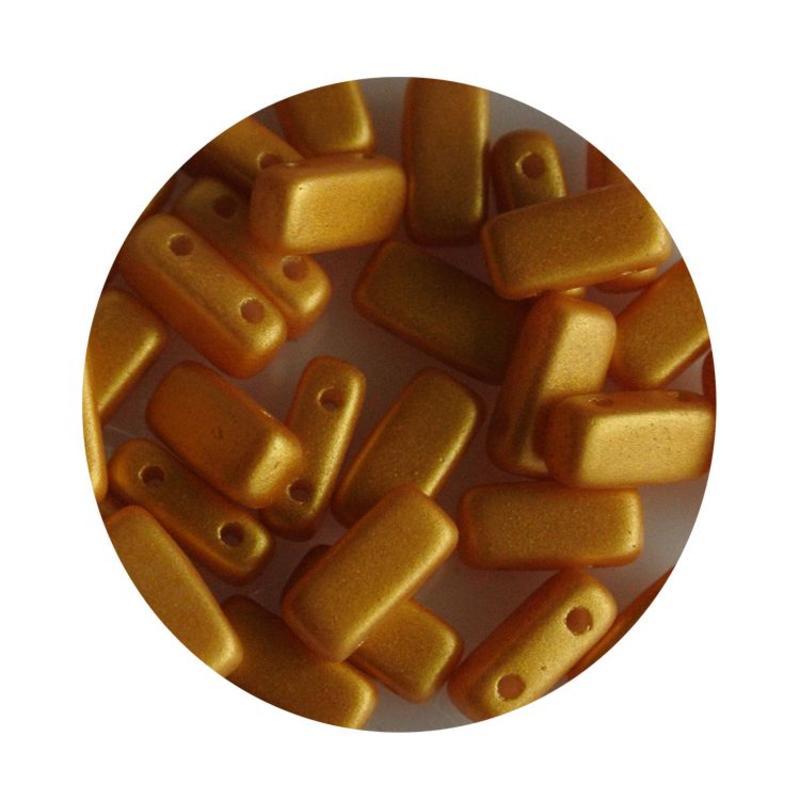 2-Loch Prismabead 4x8mm Pastel Gelb Gold Glanz