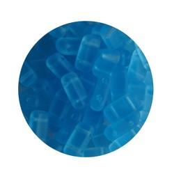 2 hole Prismabead 4x8mm Aqua Mat