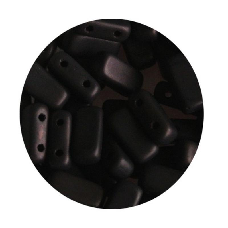 2-Loch Prismabead 4x8mm Mat Dunkel