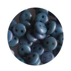 Czech mates lentils 2 hole blue luster 50 stuks voor