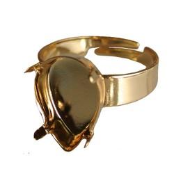 Verstelbare Ring. Goudkleurig voor Swarovskidruppel 14x10mm