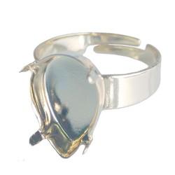 Verstelbare Ring. Lichtzilverkleurig voor Swarovskidruppel 14x10mm