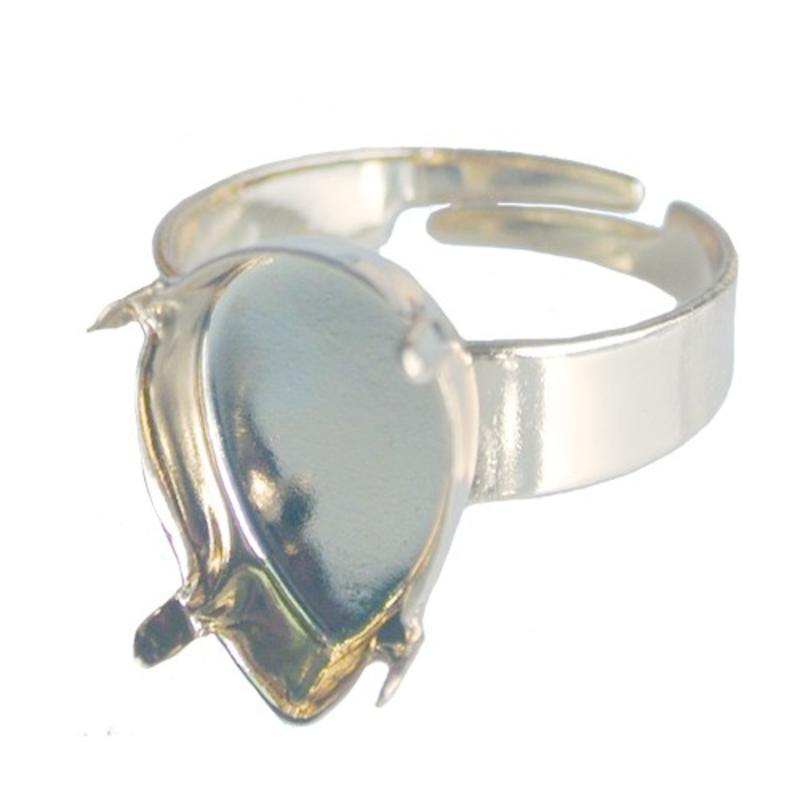 Adjustable Ring. Light Silver for Swarovski Drop 14x10mm