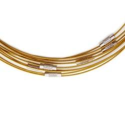 Spang gecoat draad 1mm. met draaisluiting lengte is 44cm. Goudkleurig.