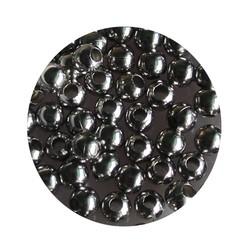Metalen kraaltje rond. 4mm. Zilverkleurig. zakje 100 stuks