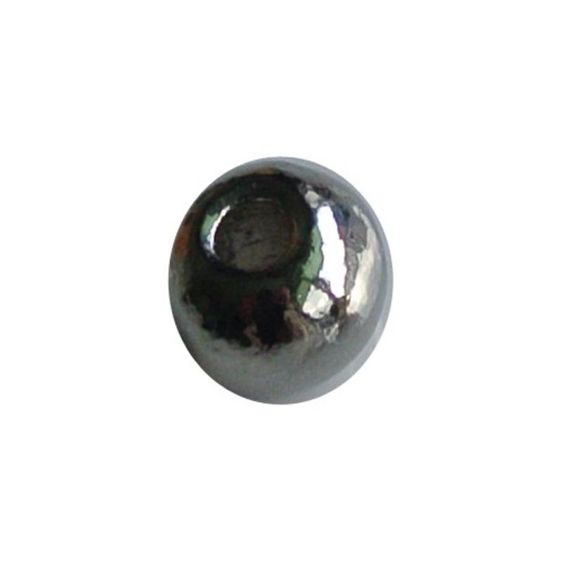 Metalen kraaltje rond 7.5mm. Zilverkleurig.