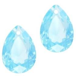 Facetgelepen drop-shaped pendant 10x14mm Aqua Blue Opal
