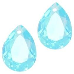 Facetgelepen drop-shaped pendant 10x14mm Lt. Blue Pacific Opal