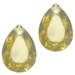 Facetgelepen drop-shaped pendant 10x14mm Khaki Green Opal