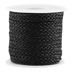 Macrame knotted wax cord 7mm wide Black 0:50 per meter