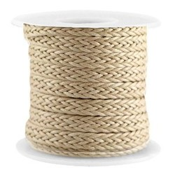 Macrame knotted wax cord 7mm wide Khaki 0:50 per meter