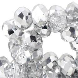 Polierte Rondelle Kristall 3x4mm mit einem halben Silberbeschichtung 10 für