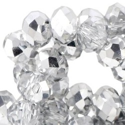 Polished Rondelle Crystal 3x4mm with half a silver coating 10 for