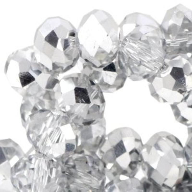 Geslepen Rondelle 3x4mm Crystal met een halve silver coating 10 stuks voor