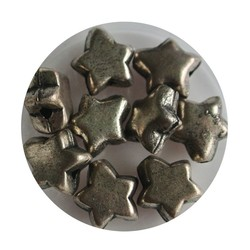 Hollow metal bead 5x10mm Silver Star.