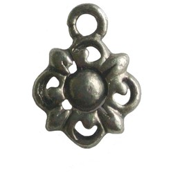 Flower charm 10x15mm silver