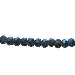 Cut Rondelle 4x3mm Dark Blue Luster 100 pieces
