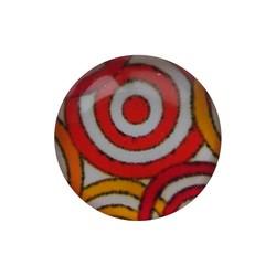 Cabochon Glas met plaatje aan de achterkant Rond 12mm oranje cirkels
