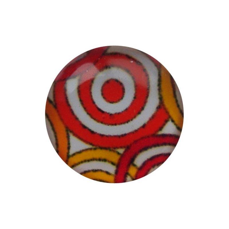 Cabochon Glas mit Platte auf der Rückseite rund 12mm orange Kreise
