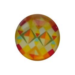 Cabochon Glas met plaatje aan de achterkant Rond 12mm geel vintage