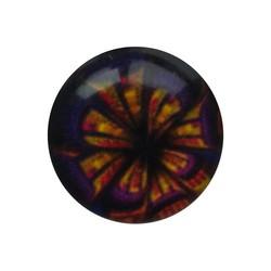 Cabochon Glas mit Schild auf der Rückseite 12mm Runde lila Blume