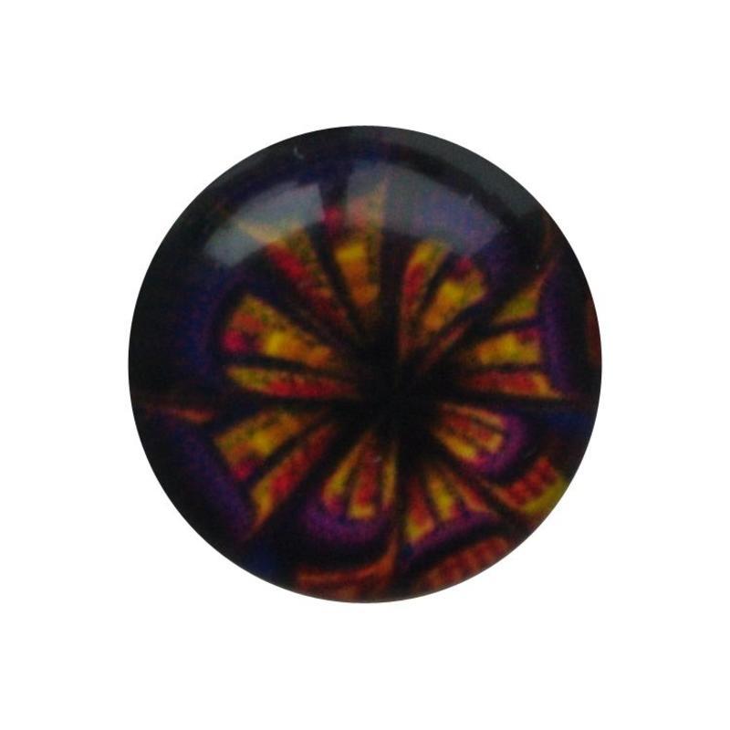 Cabochon Glas met plaatje aan de achterkant Rond 12mm purple flower