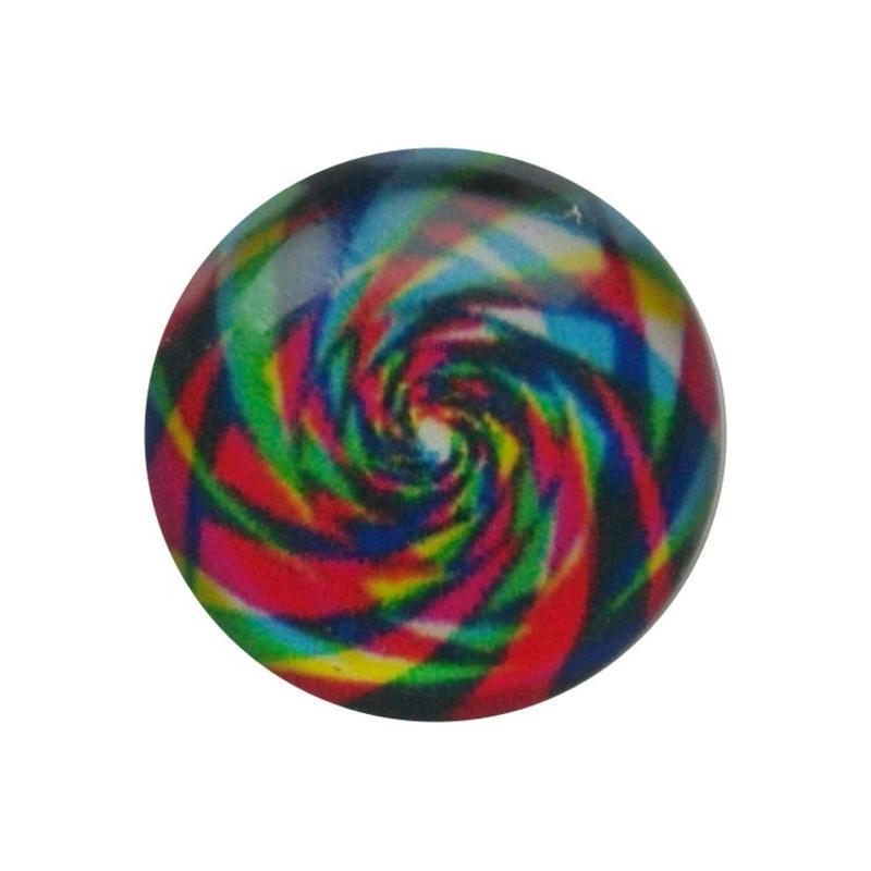 Cabochon Glas met plaatje aan de achterkant Rond 12mm rainbow