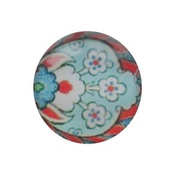 Cabochon Glass with plate at the back 12mm round retro aqua