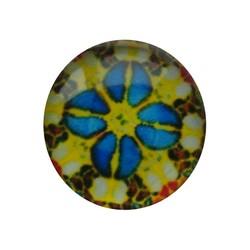 Cabochon Glas mit Platte auf der Rückseite 12mm runden Retro gelb