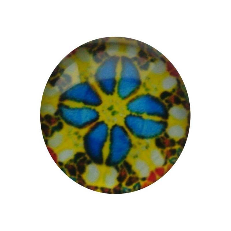 Cabochon Glas met plaatje aan de achterkant Rond 12mm retro yellow