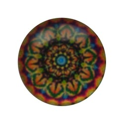 Cabochon Glass with plate on the rear 12mm Round mandala multi orange