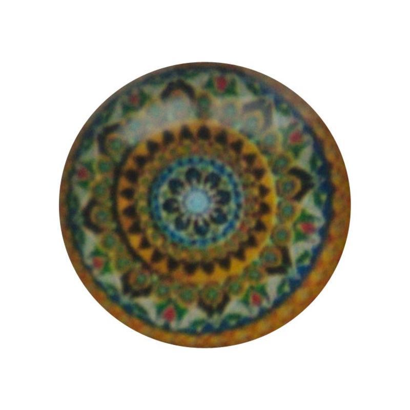 Cabochon Glas met plaatje aan de achterkant Rond 12mm mandala multi olivine