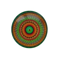 Cabochon Glass with plate on the back round 12mm orange green