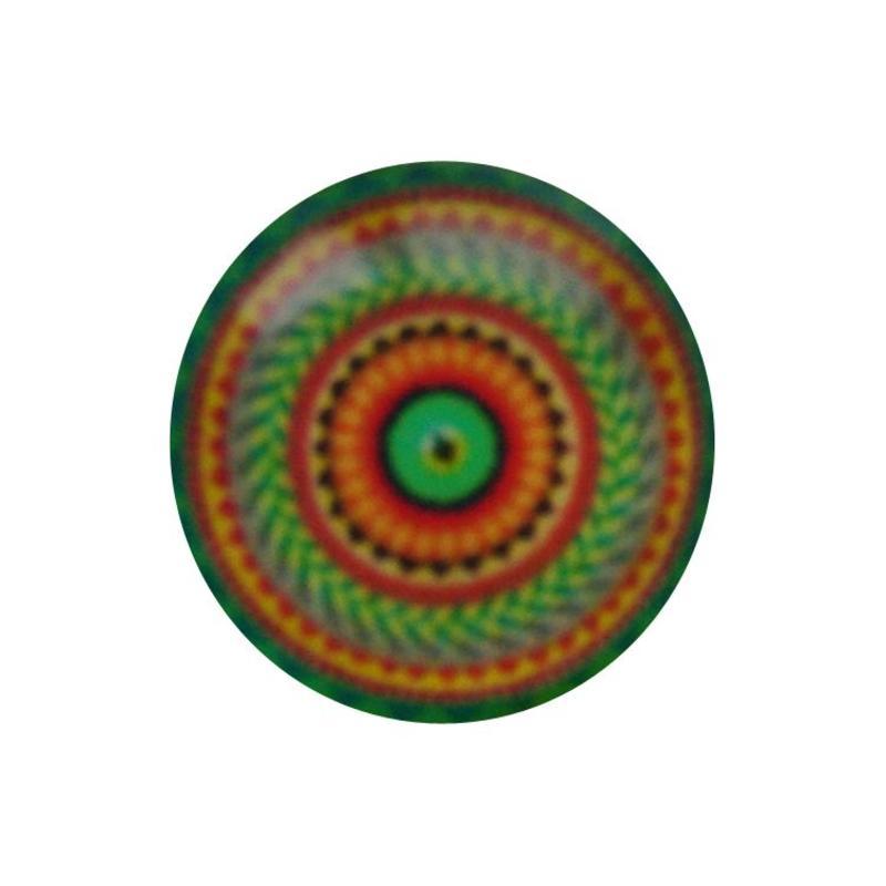 Cabochon Glas met plaatje aan de achterkant Rond 12mm oranje green