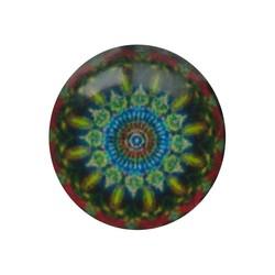 Cabochon Glas mit Schild auf der Rückseite 12mm Runde Mandala blau rot