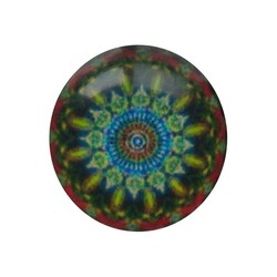 Cabochon Glass with plate on the rear 12mm Round mandala blue red