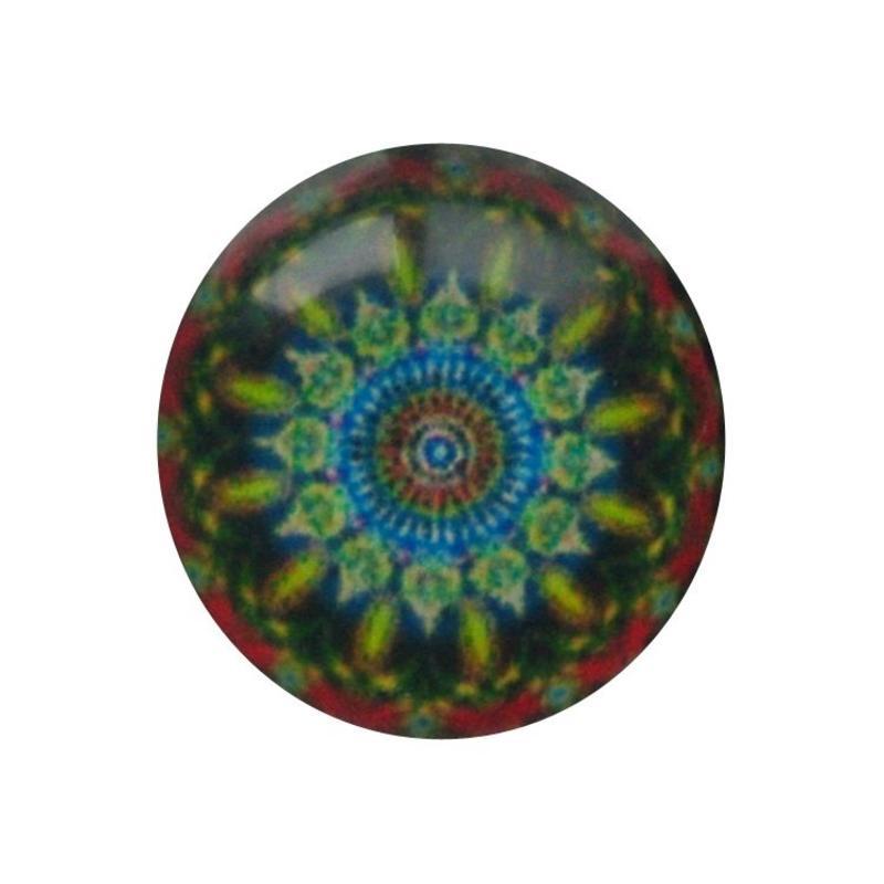 Cabochon Glas met plaatje aan de achterkant Rond 12mm mandala blue red