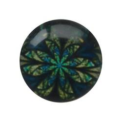 Cabochon Glas met plaatje aan de achterkant Rond 12mm retro flower blue green