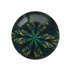 Cabochon Glass with plate at the back 12mm round retro flower blue green