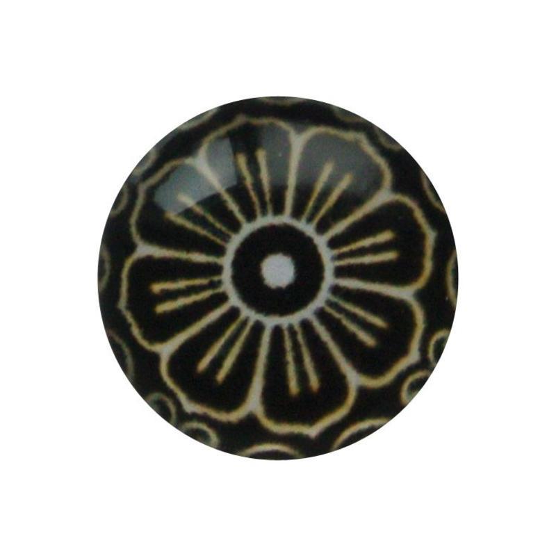 Cabochon Glas met plaatje aan de achterkant Rond 12mm retro flower brown