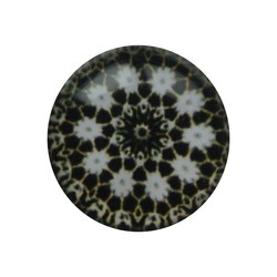 Cabochon Glass with plate on the back around 12mm brown mandala