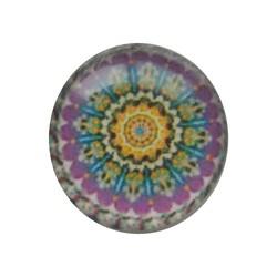 Cabochon Glas mit Schild auf der Rückseite 12mm Runde Mandala lila